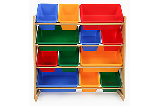 Primary Toy Storage Organizer with Twelve Plastic Bins, , large
