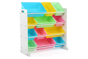Kids Pastel Toy Storage Organizer with Twelve Plastic Bins, , large