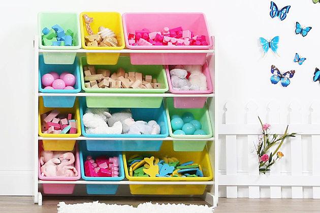 Kids Pastel Toy Storage Organizer with Twelve Plastic Bins, , large