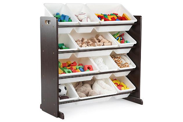 Kids Espresso Toy Storage Organizer with Twelve Plastic Bins, , large