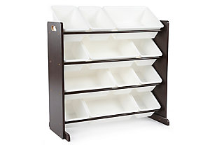 Kids Espresso Toy Storage Organizer with Twelve Plastic Bins, , large