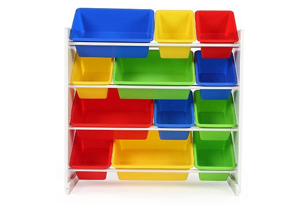 Kids Brinx Toy Storage Organizer with Twelve Plastic Bins, , large