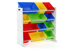 Kids Brinx Toy Storage Organizer with Twelve Plastic Bins, , large