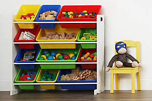 Kids Brinx Toy Storage Organizer with Twelve Plastic Bins, , rollover