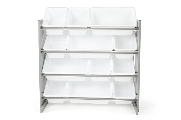 Kids Brickmill Toy Storage Organizer with Twelve Plastic Bins, , large