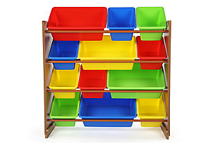 Kids Highlight Toy Storage Organizer with Twelve Plastic Bins, , large