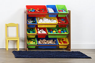 Kids Highlight Toy Storage Organizer with Twelve Plastic Bins, , rollover