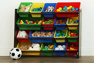 Kids Discover Super-Sized Toy Organizer with Sixteen Plastic Bins, , rollover