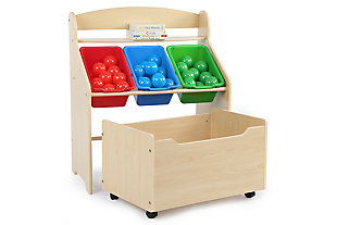 Kids Primary Three-Tier Storage Organizer with Rolling Toy Box, , rollover