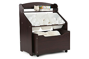 Kids Espresso Three-Tier Storage Organizer with Rolling Toy Box, , large