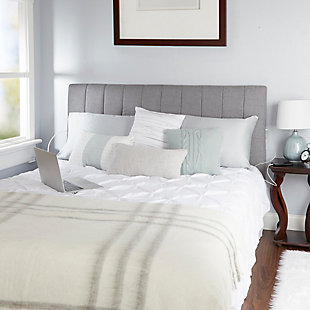 Carrie Queen Channel Tufted Powered Headboard, Light Gray, rollover