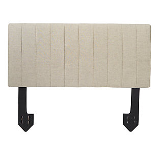Carrie Queen Channel Tufted Powered Headboard, Tan, large