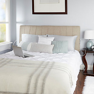 Carrie Queen Channel Tufted Powered Headboard, Tan, rollover