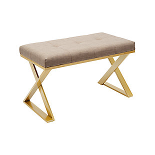 Lexi Gold X-Base Rectangular Vanity Bench, ...