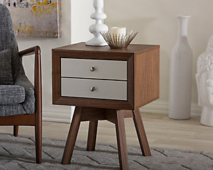 Warwick Two-tone Walnut and White Accent Table and Nightstand, , rollover