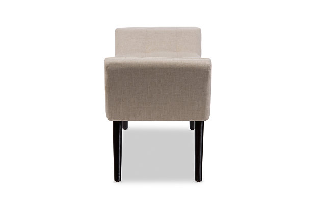 Tamblin Retro Beige Upholstered Grid-Tufting 50-Inch Bench, , large