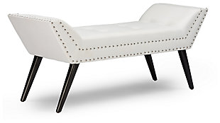 Tamblin Faux Leather Upholstered Large Ottoman Seating Bench, , large