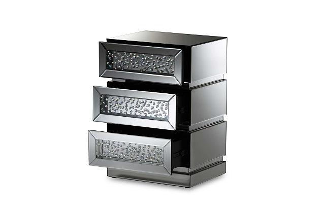 Mirrored 3-Drawer Nightstand, , large