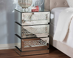 Mirrored 3-Drawer Nightstand, , rollover