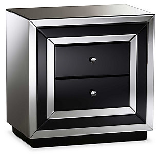 Cecilia Mirrored 2-Drawer Nightstand, , large