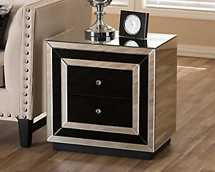 Cecilia Mirrored 2-Drawer Nightstand, , rollover