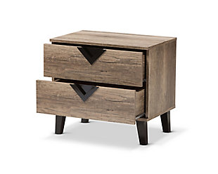 Two Drawer Light Brown 2-Drawer Nightstand, , large