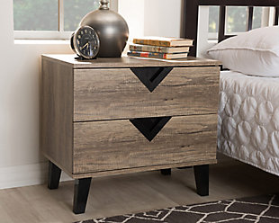 Two Drawer Light Brown 2-Drawer Nightstand, , rollover