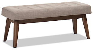 Elia Light Grey Fabric Button-Tufted Bench, , large