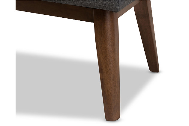 Elia Dark Grey Fabric Button-Tufted Bench, , large