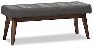 Elia Dark Grey Fabric Button-Tufted Bench, , large