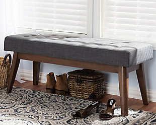 Elia Dark Grey Fabric Button-Tufted Bench, , rollover