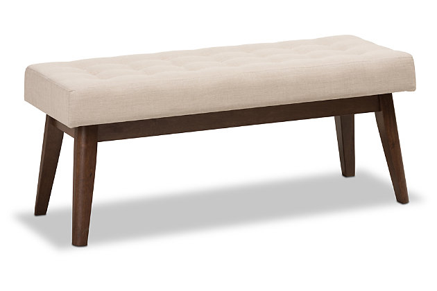 Elia Light Beige Fabric Button-Tufted Bench, , large