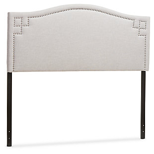 Nail Head Upholstered Queen Size Headboard, Gray/Beige, large
