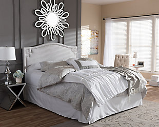 Nail Head Upholstered Queen Headboard, Gray/Beige, rollover