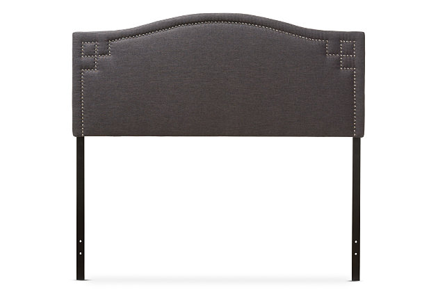 Nail Head Upholstered Queen Headboard, Dark Gray, large
