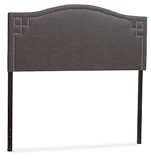 Nail Head Upholstered Queen Size Headboard, Dark Gray, large