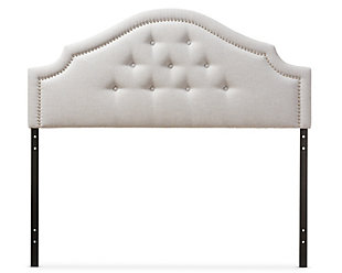 Cora Upholstered Queen Headboard, Gray/Beige, large