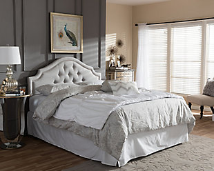 Cora Upholstered Queen Headboard, Gray/Beige, rollover