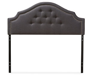Cora Upholstered Queen Headboard, Dark Gray, large