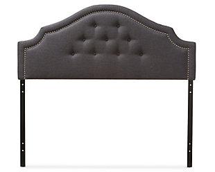Cora Upholstered Queen Headboard, Dark Gray, large