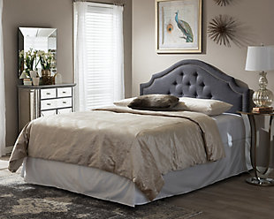 Cora Upholstered Queen Headboard, Dark Gray, rollover
