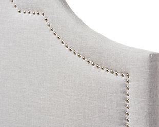 Rita Upholstered Queen Headboard, Gray/Beige, large