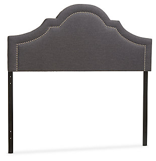 Rita Upholstered Queen Headboard, Dark Gray, large