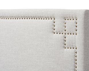 Geneva Upholstered Queen Headboard, Gray/Beige, large