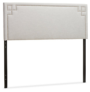 Geneva Upholstered Queen Headboard, Gray/Beige, large