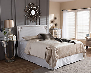 Geneva Upholstered Queen Headboard, Gray/Beige, rollover