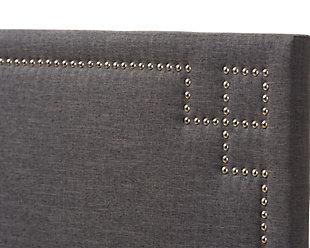 Geneva Upholstered Queen Headboard, Dark Gray, large