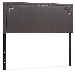 Geneva Upholstered Queen Headboard, Dark Gray, large