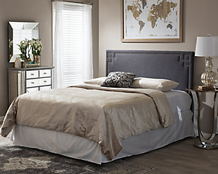Geneva Upholstered Queen Headboard, Dark Gray, rollover