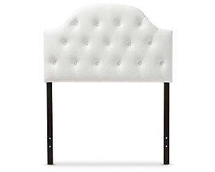 Button Tufted Upholstered Twin Headboard, White, large